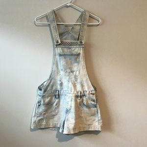 Bongo Light Wash Distressed Overall Shorts